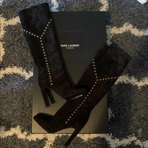 AUTHENTIC YSL fall boots! Suede and studded.